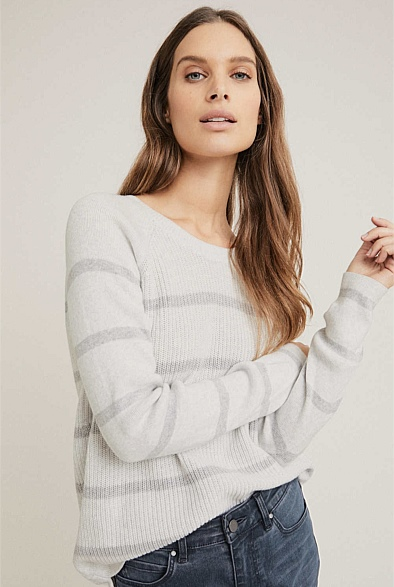Raglan Sleeve Stripe Knit