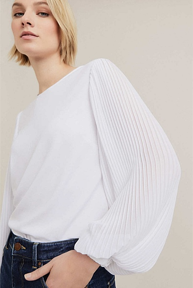 Pleat Woven Detail Top