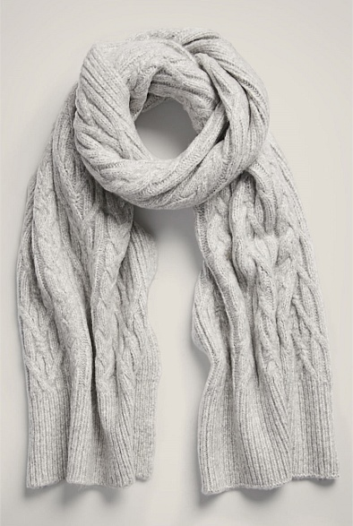 Lofty Cable Knit Scarf
