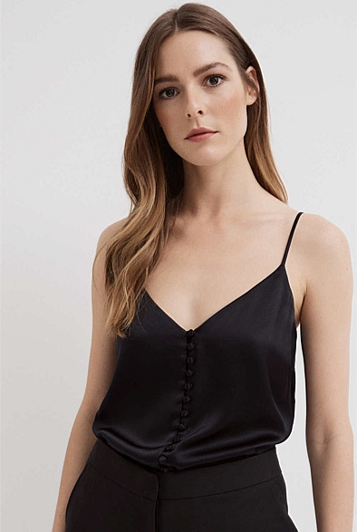 Silk Button Front Camisole