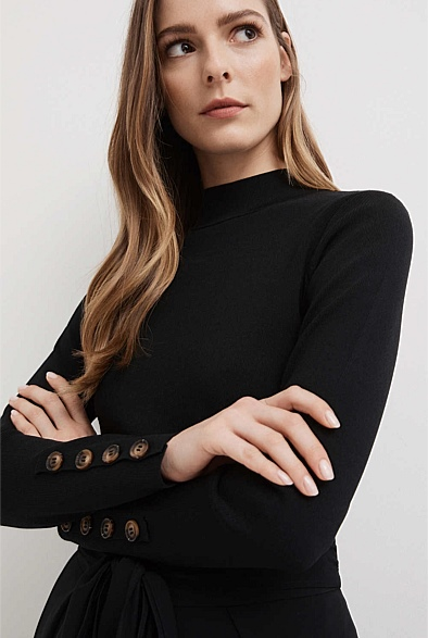 Extended Neck Button Knit