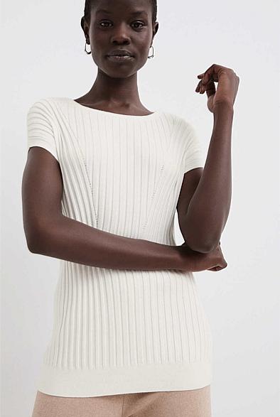 Extended Shoulder Rib Knit