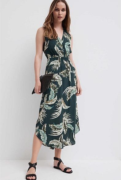 V Detail Midi Dress