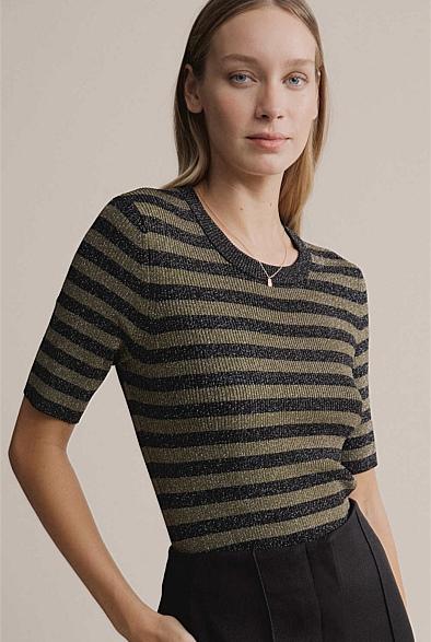 Lurex Stripe Short Sleeve Knit