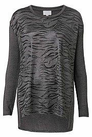 Long sleeve Foil Tiger Print Top