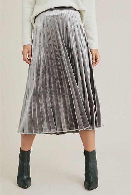 af8dc3504 Velvet Pleated Skirt   Midi Skirts
