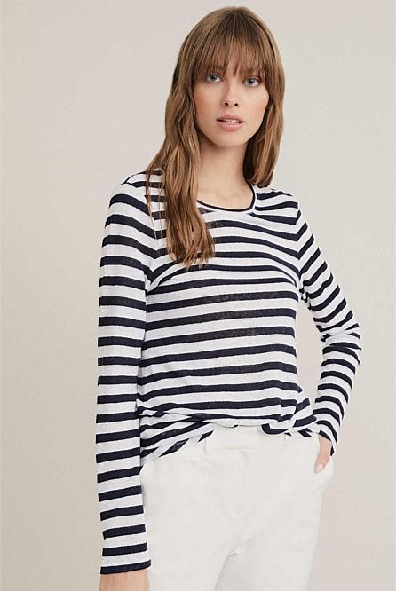 f4ebb5fc9bee Stripe Linen Long Sleeve Top