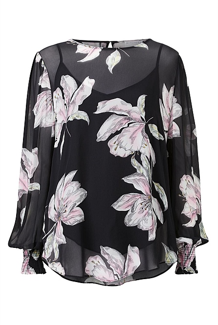Pewter Print Blouse by Witchery