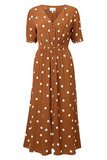 Spot Button Dress by Witchery