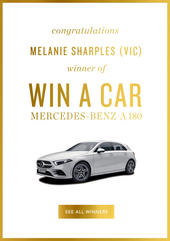 Congratulations Melanie Sharples winenr of Win A Car Mercedes-benz A180